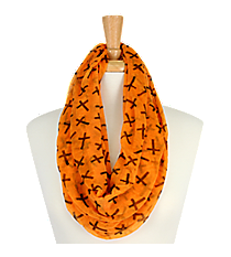 Orange with Black Crosses Sheer Infinity Scarf #AS-212-ORANGE