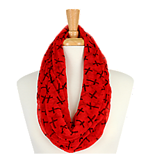 Red with Black Crosses Sheer Infinity Scarf #AS-212-RED