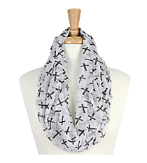 White with Black Crosses Sheer Infinity Scarf #AS-212-WHITE