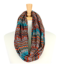 Aztec Print Infinity Scarf #AS-219-BL/OR/BR
