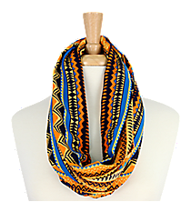 Southwestern Print Infinity Scarf #AS-224-ORANGE/BLUE