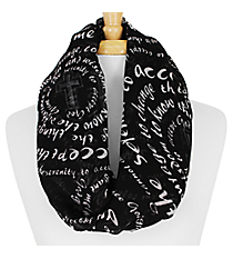 Black and White Serenity Prayer Cross Infinity Scarf #IF0025-J