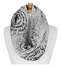 White and Black Serenity Prayer Cross Infinity Scarf #IF0025-W