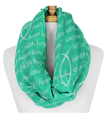 Emerald Green and White Faith Hope Love Fish Infinity Scarf #IF0026-E