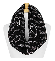 Black and White Faith Hope Love Fish Infinity Scarf #IF0026-J