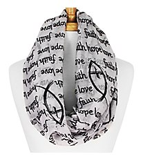 White and Black Faith Hope Love Fish Infinity Scarf #IF0026-W