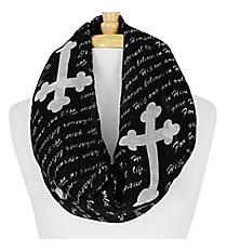 Black and White John 3:16 Cross Infinity Scarf #IF0027-J