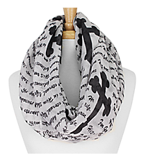 White and Black John 3:16 Cross Infinity Scarf #IF0027-W