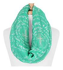 Emerald Green and White Serenity Prayer Cross Infinity Scarf #IF0025-E
