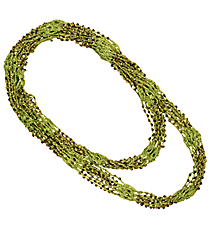 "70"" Gold Beaded Mint Green Circle Scarf Necklace #AN0504-GE2"