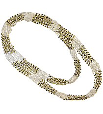 "70"" Gold Beaded White Circle Scarf Necklace #AN0504-GW"