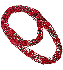 "70"" Silver Beaded Hot Pink Circle Scarf Necklace #AN0504-RHP"