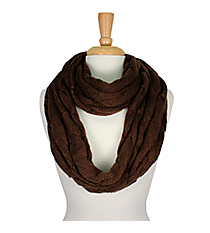 Brown Cable Knit Infinity Scarf #SC1810-BROWN