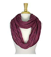 Purple Cable Knit Infinity Scarf #SC1810-PURPLE