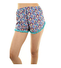Mint and Purple Aztec Pom-Pom Shorts #SC-ES0-03-A-P.R.-MINT/PURPLE *Choose Your Size