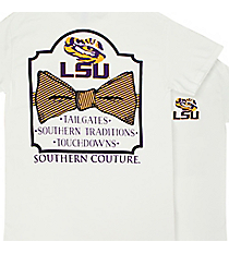 Southern Couture LSU Bowtie White T-Shirt *Choose Your Size