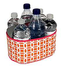 Orange and White Interlocking Circles with Pink Trim Cover and 6-Pack Cooler Set #SCVR-ORPK