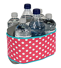 Pink and White Polka Dots with Turquoise Trim Cover and 6-Pack Cooler Set #SCVR-PKTQ