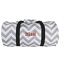 Gray and White Chevron Roll Duffle Bag #SD-1325