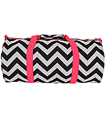 Black and Gray Chevron with Pink Trim Roll Duffle Bag #SD-1324-P