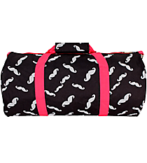 Black and Gray Mustache with Pink Trim Roll Duffle Bag #SD-1329-P