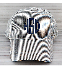 Black Striped Seersucker Cap #SW181351/32519