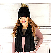Black Cable Knit Pom Pom Beanie and Scarf Set #SET2179-BLACK