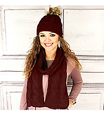 Burgundy Cable Knit Pom Pom Beanie and Scarf Set #SET2179-BURGUNDY