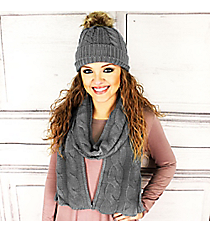 Gray Cable Knit Pom Pom Beanie and Scarf Set #SET2179-GRAY