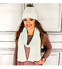Ivory Cable Knit Pom Pom Beanie and Scarf Set #SET2179-IVORY