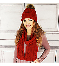 Rust Cable Knit Pom Pom Beanie and Scarf Set #SET2179-RUST