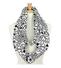 Black and White Aztec Infinity Scarf #SF-BLK/WHT