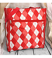 Red Argyle Shopper Tote #SH13-#66