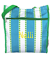 Blue and White Stripes with Green Dots Shopper Tote #ST13-1328