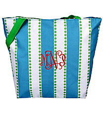 Market Shopping Tote in Blue and White Stripes with Green Dots #ST18-1328