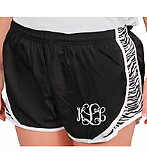 Juniors Black and Zebra Running Shorts