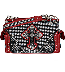 Houndstooth Cross Satchel with Burgundy Trim #939W21HLCR-BUG
