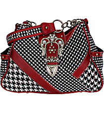 Patchwork Houndstooth and Burgundy Buckle Shoulder Bag #P7102PH-H-BUG