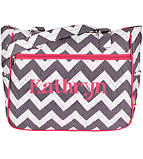 Gray Chevron with Hot Pink Trim Shoulder Tote #ZIG594-H/PINK