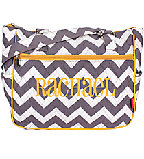 Gray Chevron with Yellow Trim Shoulder Tote #ZIG594-YELLOW