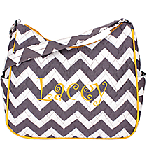 Gray Chevron with Yellow Trim Shoulder Bag #ZIG595-YELLOW
