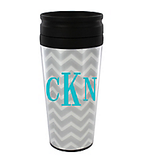 Silver Chevron 14 oz. Travel Tumbler with Black Lid #WLCM338PP-CL-U