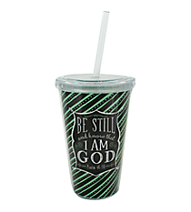 """Be Still"" 16 oz. Double Wall Tumbler with Straw #SIP-FTH-STILL"