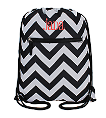 Black and Gray Chevron Drawstring Backpack #SL-1324