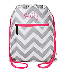 Gray and White Chevron with Hot Pink Trim Drawstring Backpack #SL-1325-P