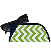 Lime and White Chevron with Navy Trim Sunglasses Sleeve #SLV-LMNV