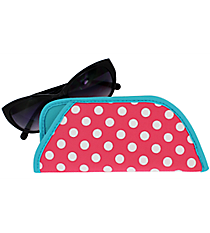 Pink and White Polka Dots with Turquoise Trim Sunglasses Sleeve #SLV-PKTQ