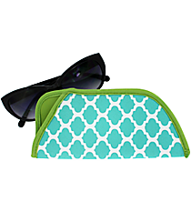 Turquoise and White Geometric Print with Lime Trim Sunglasses Sleeve #SLV-TQLM