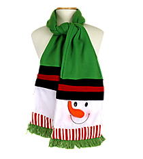 Snowman Green Fleece Scarf #81021-GREEN