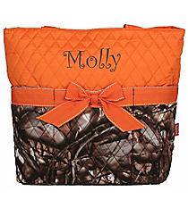 BNB Natural Camo Quilted Diaper Bag with Orange Trim #SNQ2121-ORANGE